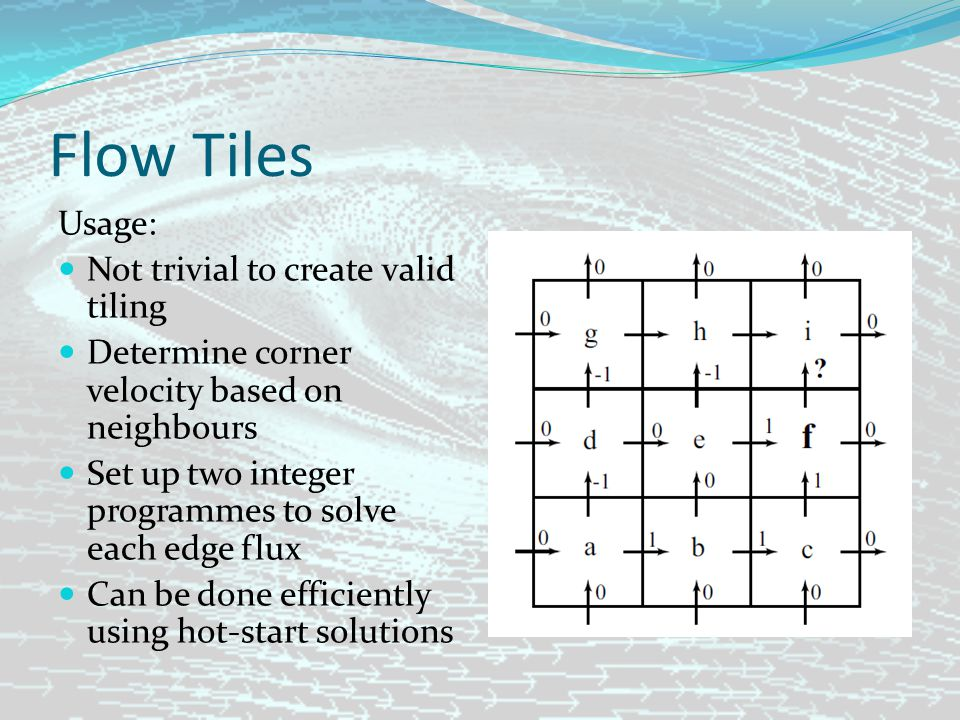 Flow Tiles Usage: Not trivial to create valid tiling Determine corner velocity based on neighbours Set up two integer programmes to solve each edge flux Can be done efficiently using hot-start solutions