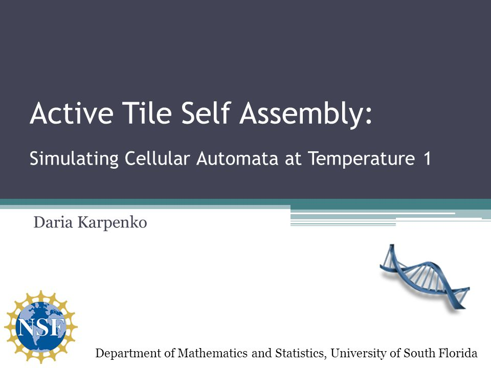 Active Tile Self Assembly: Daria Karpenko Department of Mathematics and Statistics, University of South Florida Simulating Cellular Automata at Temperature 1