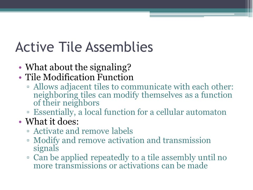 Active Tile Assemblies What about the signaling.