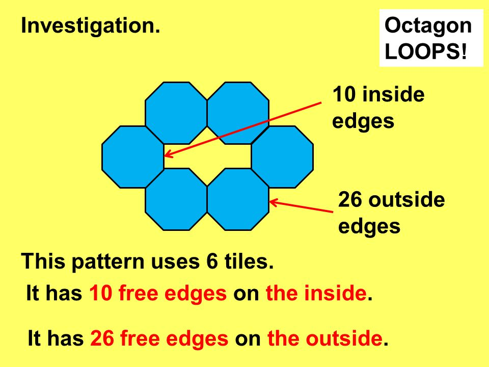 Octagon LOOPS. Investigation. This pattern uses 6 tiles.