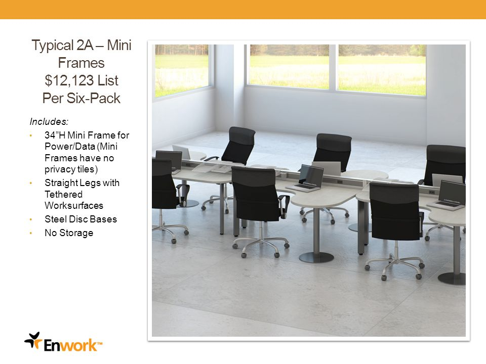 Typical 2A – Mini Frames $12,123 List Per Six-Pack Includes: 34H Mini Frame for Power/Data (Mini Frames have no privacy tiles) Straight Legs with Tethered Worksurfaces Steel Disc Bases No Storage 22