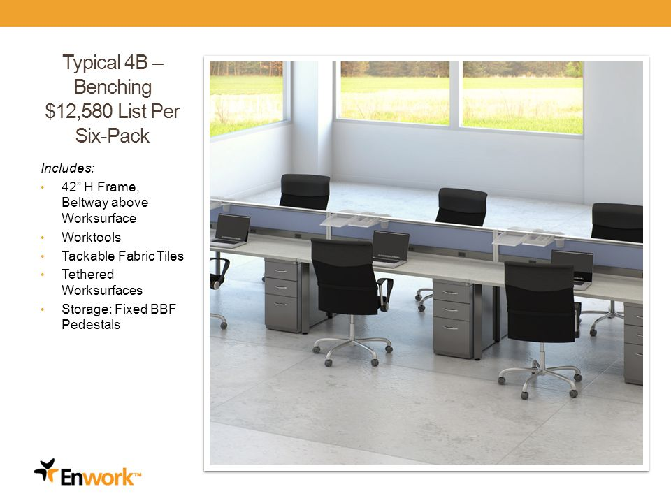 Typical 4B – Benching $12,580 List Per Six-Pack Includes: 42 H Frame, Beltway above Worksurface Worktools Tackable Fabric Tiles Tethered Worksurfaces Storage: Fixed BBF Pedestals 23
