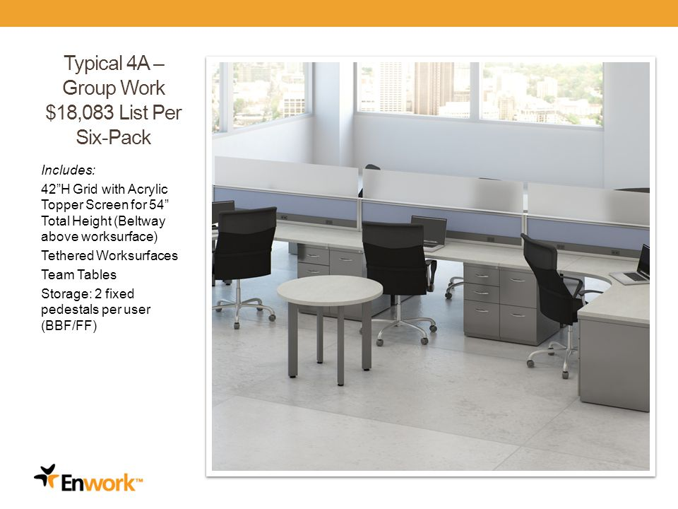 Typical 4A – Group Work $18,083 List Per Six-Pack Includes: 42H Grid with Acrylic Topper Screen for 54 Total Height (Beltway above worksurface) Tethered Worksurfaces Team Tables Storage: 2 fixed pedestals per user (BBF/FF) 27