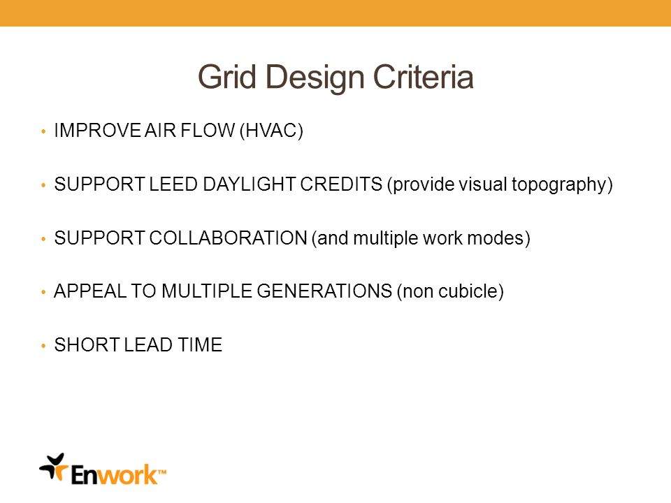 Grid Design Criteria IMPROVE AIR FLOW (HVAC) SUPPORT LEED DAYLIGHT CREDITS (provide visual topography) SUPPORT COLLABORATION (and multiple work modes) APPEAL TO MULTIPLE GENERATIONS (non cubicle) SHORT LEAD TIME