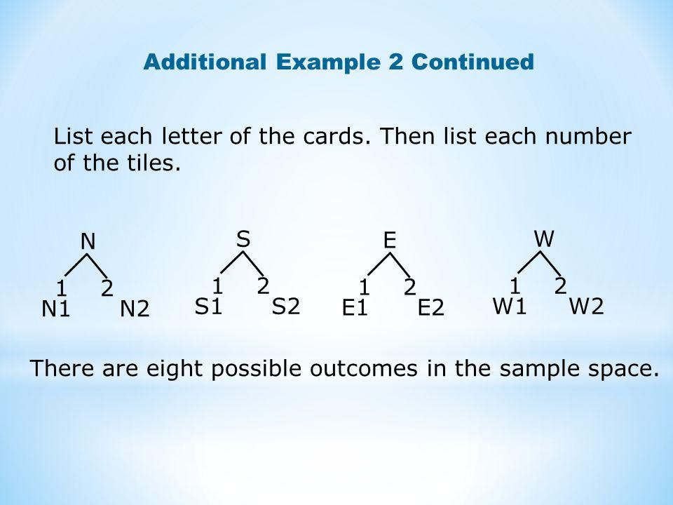 Additional Example 2 Continued List each letter of the cards.
