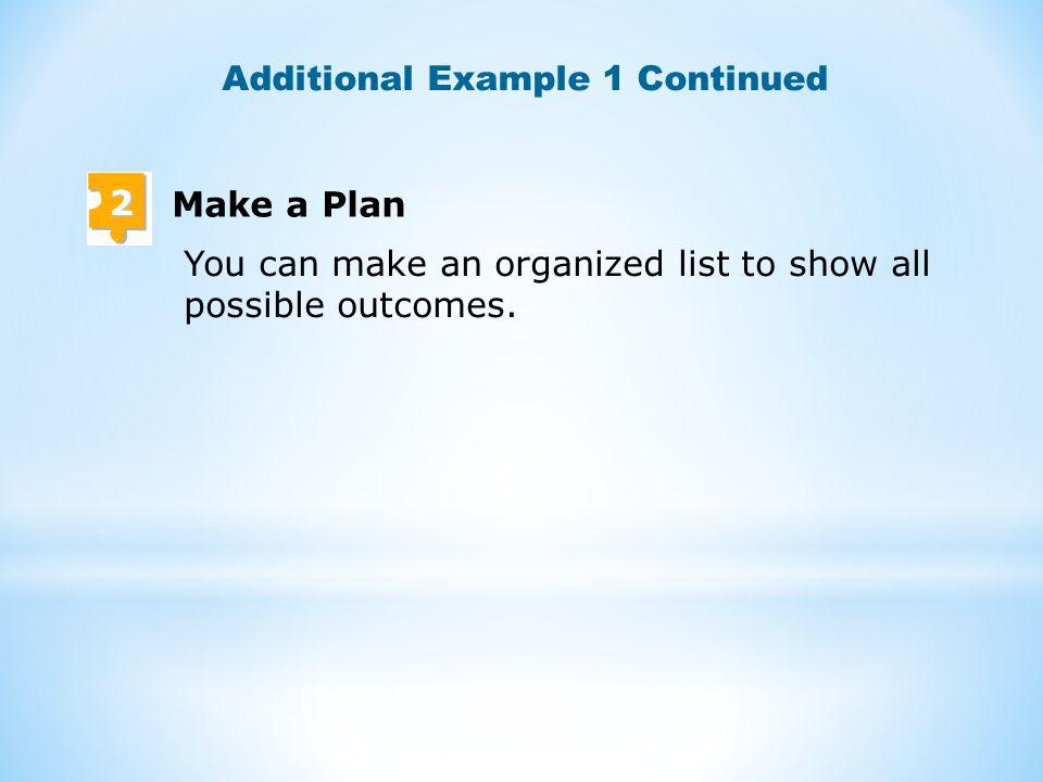 2 Make a Plan You can make an organized list to show all possible outcomes.