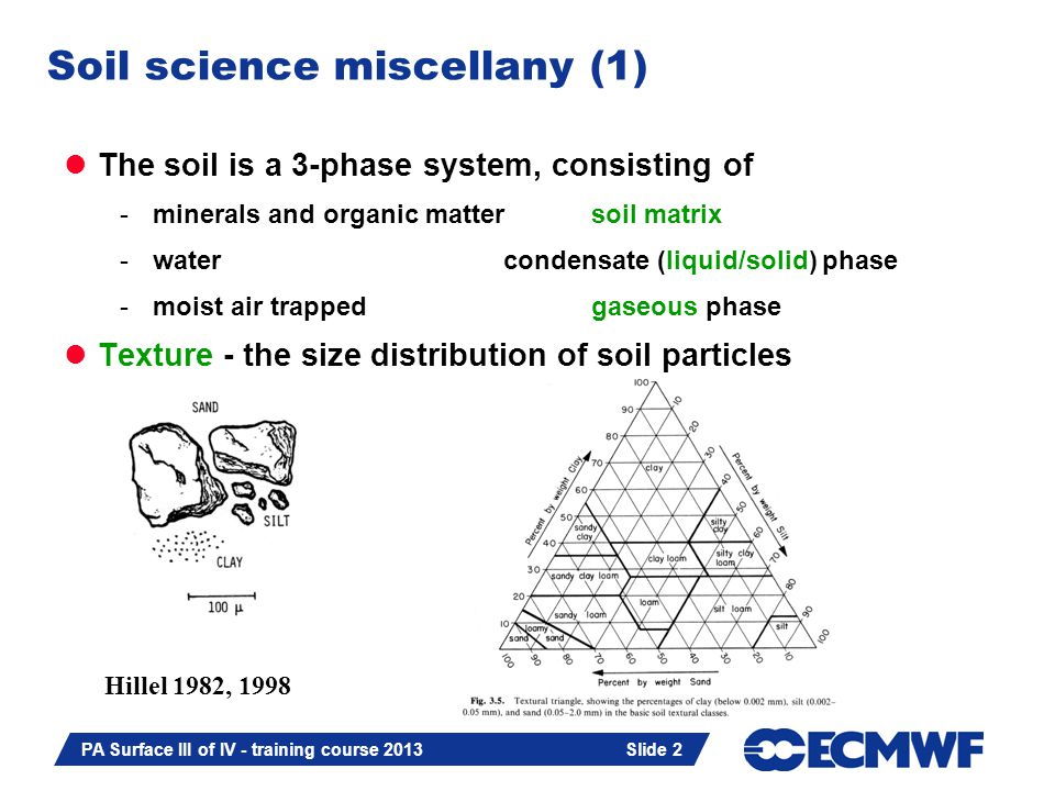 Slide 2 PA Surface III of IV - training course 2013 Slide 2 Soil science miscellany (1) The soil is a 3-phase system, consisting of -minerals and organic mattersoil matrix -watercondensate (liquid/solid) phase -moist air trappedgaseous phase Texture - the size distribution of soil particles Hillel 1982, 1998