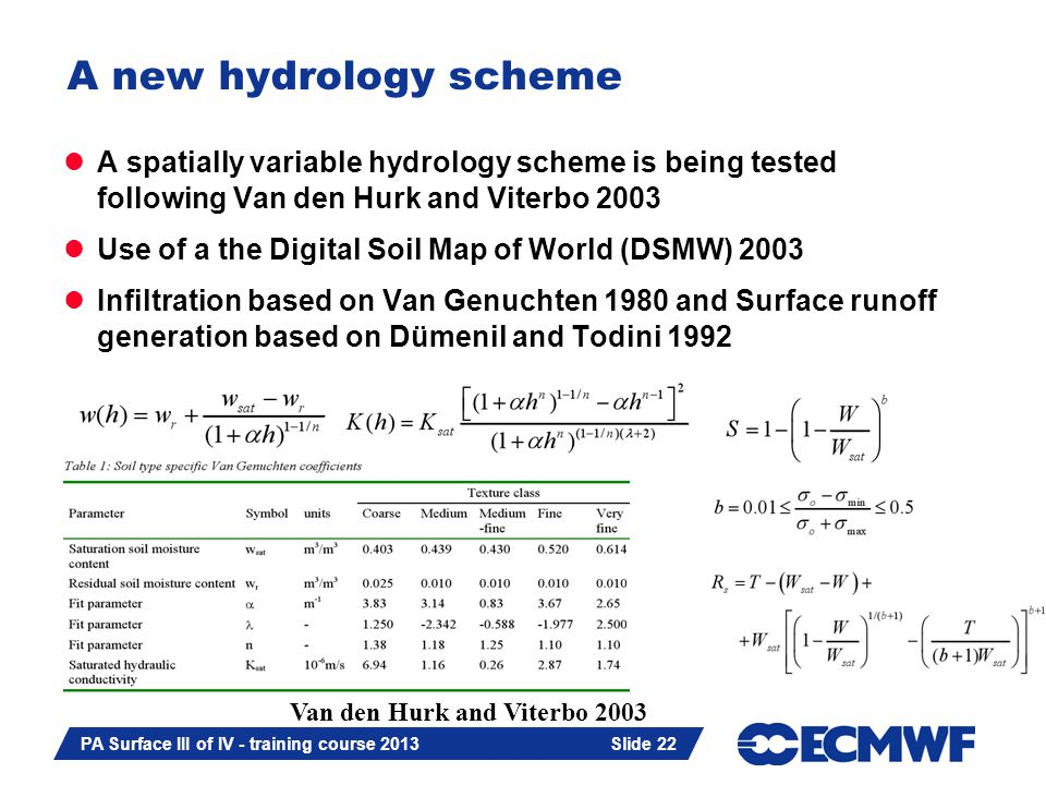 Slide 22 PA Surface III of IV - training course 2013 Slide 22 A new hydrology scheme A spatially variable hydrology scheme is being tested following Van den Hurk and Viterbo 2003 Use of a the Digital Soil Map of World (DSMW) 2003 Infiltration based on Van Genuchten 1980 and Surface runoff generation based on Dümenil and Todini 1992 Van den Hurk and Viterbo 2003