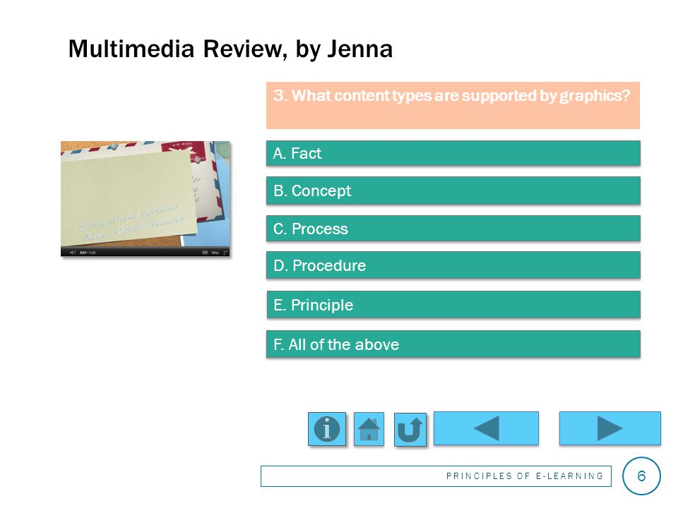 Thats incorrect. Thats correct. Multimedia Review, by Jenna PRINCIPLES OF E-LEARNING 5 2.