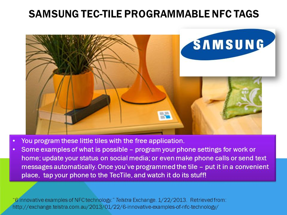 SAMSUNG TEC-TILE PROGRAMMABLE NFC TAGS 6 innovative examples of NFC technology.
