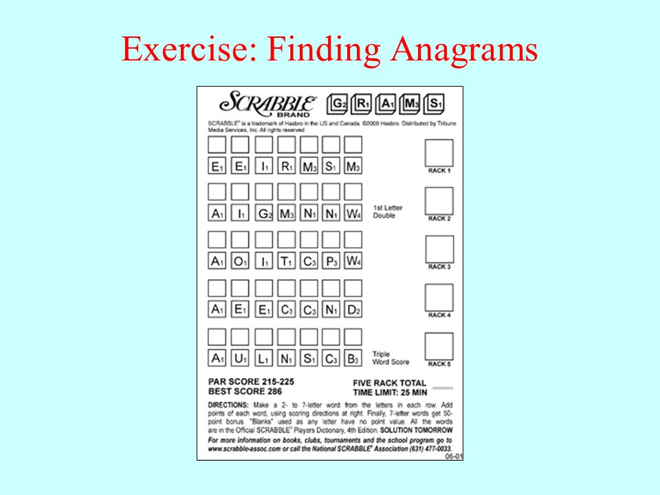Exercise: Finding Anagrams