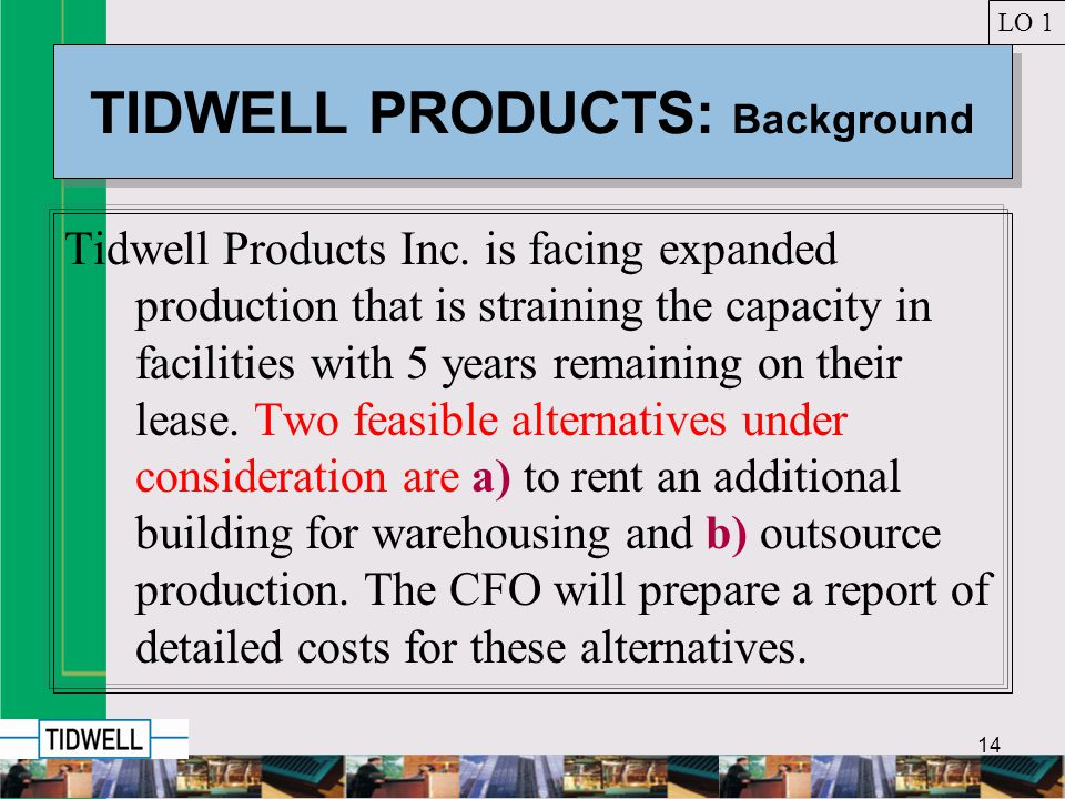 14 TIDWELL PRODUCTS: Background Tidwell Products Inc.