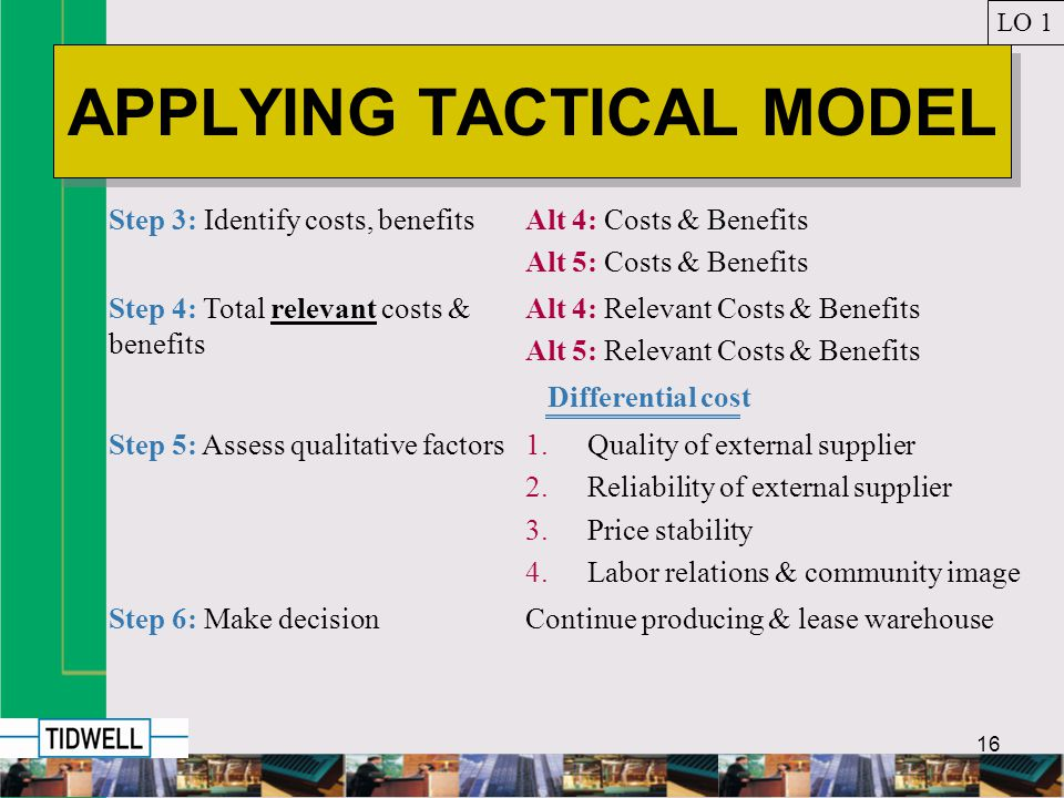 16 APPLYING TACTICAL MODEL LO 1 Step 3: Identify costs, benefitsAlt 4: Costs & Benefits Alt 5: Costs & Benefits Step 4: Total relevant costs & benefits Alt 4: Relevant Costs & Benefits Alt 5: Relevant Costs & Benefits Differential cost Step 5: Assess qualitative factors1.Quality of external supplier 2.Reliability of external supplier 3.Price stability 4.Labor relations & community image Step 6: Make decisionContinue producing & lease warehouse