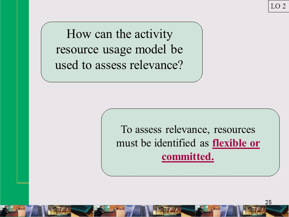 25 How can the activity resource usage model be used to assess relevance.