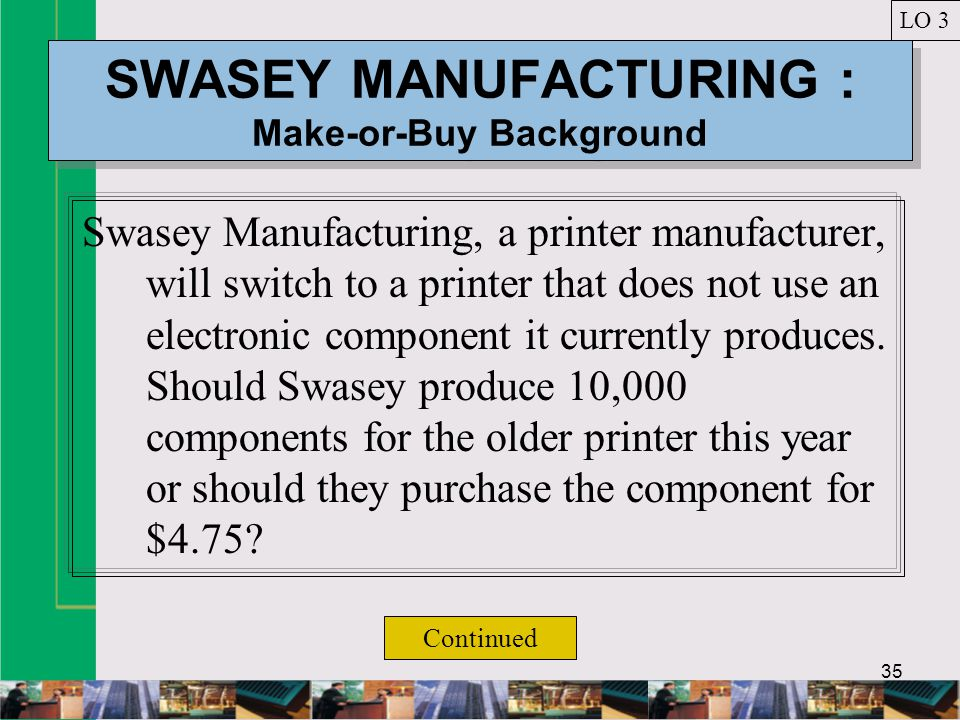 35 SWASEY MANUFACTURING : Make-or-Buy Background Swasey Manufacturing, a printer manufacturer, will switch to a printer that does not use an electronic component it currently produces.