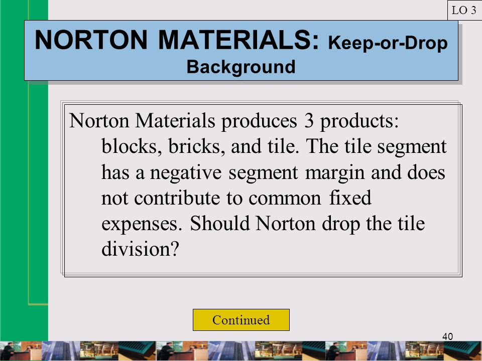 40 NORTON MATERIALS: Keep-or-Drop Background Norton Materials produces 3 products: blocks, bricks, and tile.