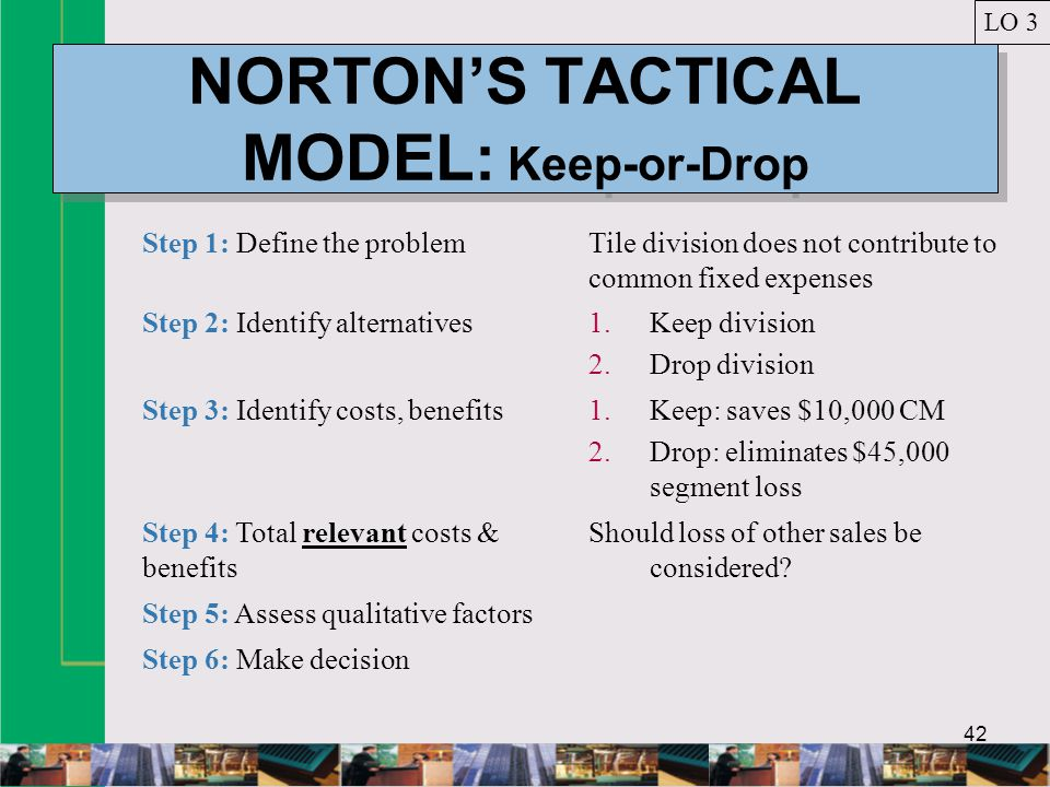 42 NORTONS TACTICAL MODEL: Keep-or-Drop LO 3 Step 1: Define the problemTile division does not contribute to common fixed expenses Step 2: Identify alternatives1.Keep division 2.Drop division Step 3: Identify costs, benefits1.Keep: saves $10,000 CM 2.Drop: eliminates $45,000 segment loss Step 4: Total relevant costs & benefits Should loss of other sales be considered.