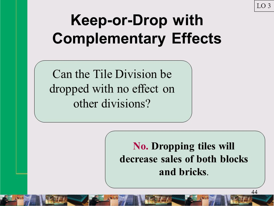 Keep-or-Drop with Complementary Effects 44 Can the Tile Division be dropped with no effect on other divisions.