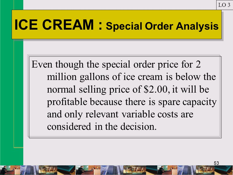 53 ICE CREAM : Special Order Analysis LO 3 Even though the special order price for 2 million gallons of ice cream is below the normal selling price of $2.00, it will be profitable because there is spare capacity and only relevant variable costs are considered in the decision.