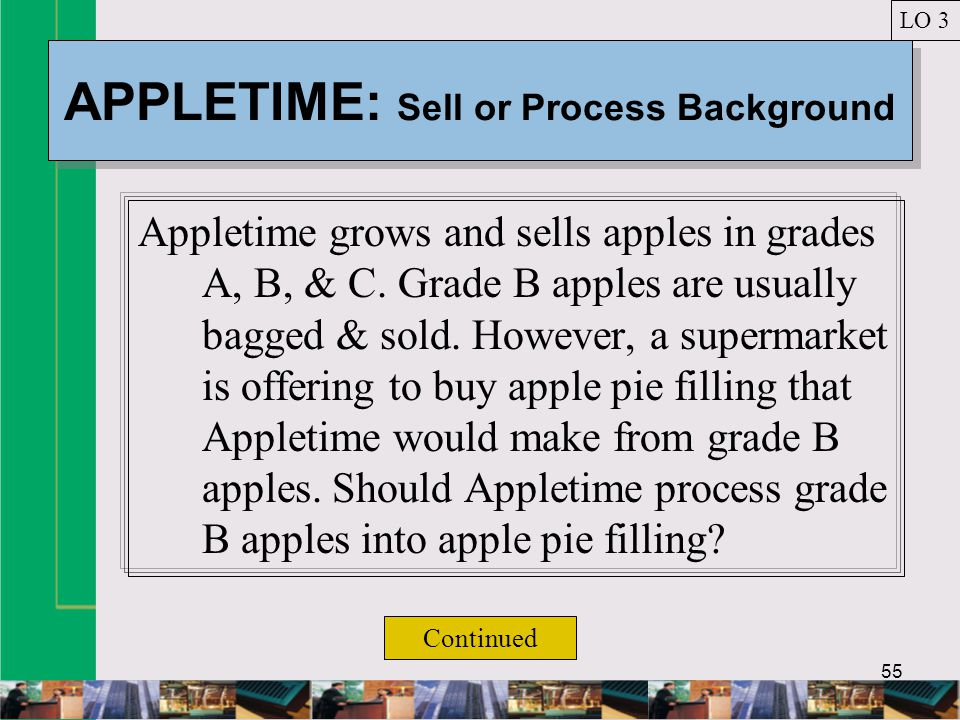 55 APPLETIME: Sell or Process Background Appletime grows and sells apples in grades A, B, & C.