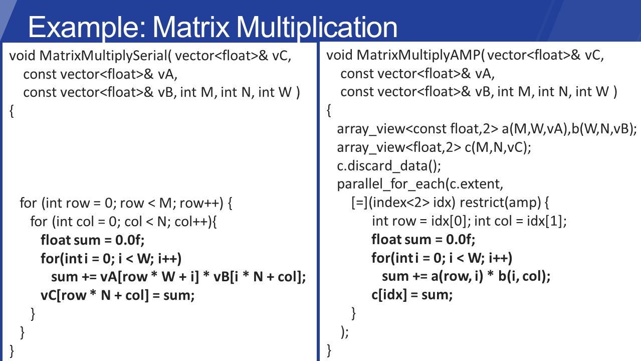 void MatrixMultiplySerial( vector & vC, const vector & vA, const vector & vB, int M, int N, int W ) { for (int row = 0; row < M; row++) { for (int col = 0; col < N; col++){ float sum = 0.0f; for(int i = 0; i < W; i++) sum += vA[row * W + i] * vB[i * N + col]; vC[row * N + col] = sum; } void MatrixMultiplyAMP( vector & vC, const vector & vA, const vector & vB, int M, int N, int W ) { array_view a(M,W,vA),b(W,N,vB); array_view c(M,N,vC); c.discard_data(); parallel_for_each(c.extent, [=](index idx) restrict(amp) { int row = idx[0]; int col = idx[1]; float sum = 0.0f; for(int i = 0; i < W; i++) sum += a(row, i) * b(i, col); c[idx] = sum; } ); }