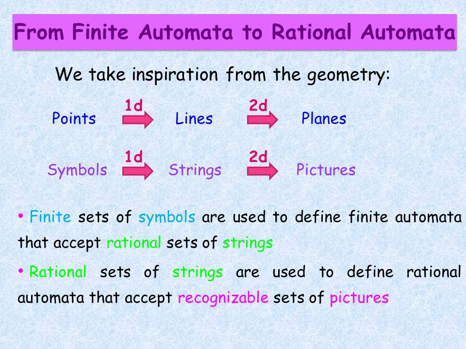 From Finite Automata to Rational Automata We take inspiration from the geometry: Finite sets of symbols are used to define finite automata that accept rational sets of strings Rational sets of strings are used to define rational automata that accept recognizable sets of pictures PointsLinesPlanes 1d2d SymbolsStringsPictures 1d2d
