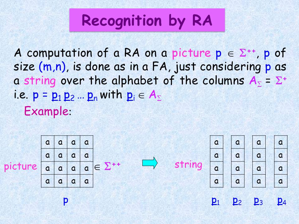 A computation of a RA on a picture p ++, p of size (m,n), is done as in a FA, just considering p as a string over the alphabet of the columns A = + i.e.