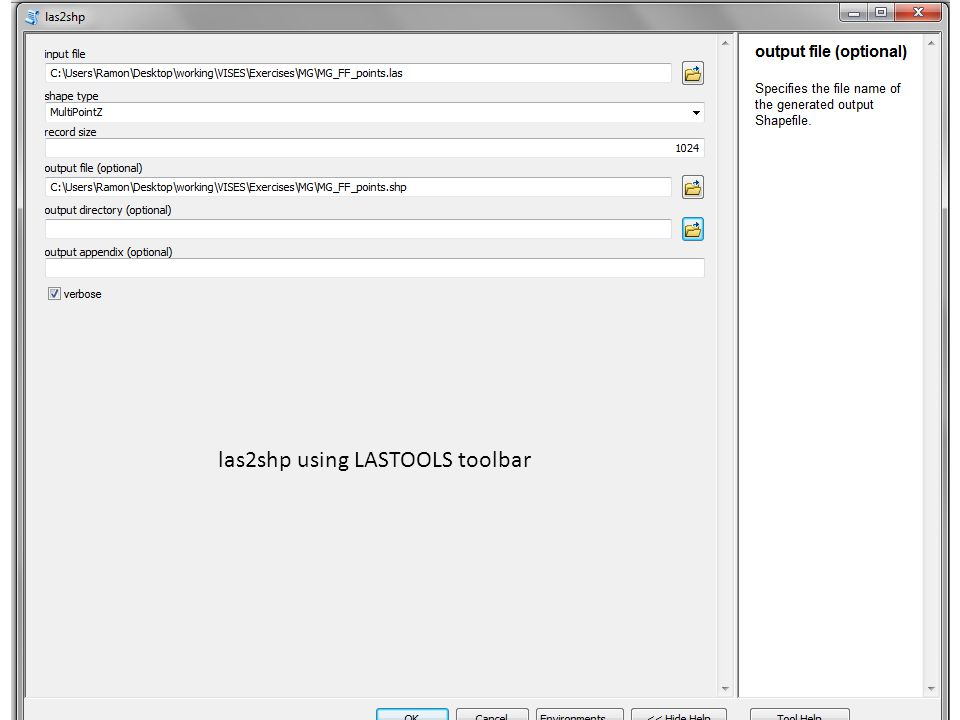 las2shp using LASTOOLS toolbar