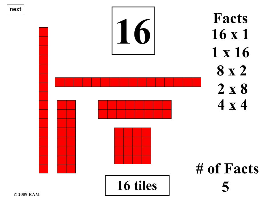 16 tiles 16 1 x 16 # of Facts 5 16 x 1 Facts 8 x 2 2 x 8 4 x 4 next © 2009 RAM