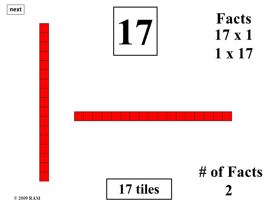 17 tiles 17 1 x 17 # of Facts 2 17 x 1 Facts next © 2009 RAM