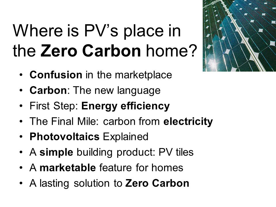 Where is PVs place in the Zero Carbon home.