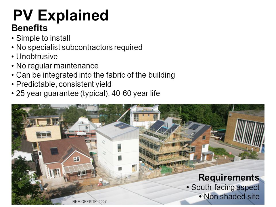 Benefits Simple to install No specialist subcontractors required Unobtrusive No regular maintenance Can be integrated into the fabric of the building Predictable, consistent yield 25 year guarantee (typical), 40-60 year life PV Explained Requirements South-facing aspect Non shaded site BRE OFFSITE 2007