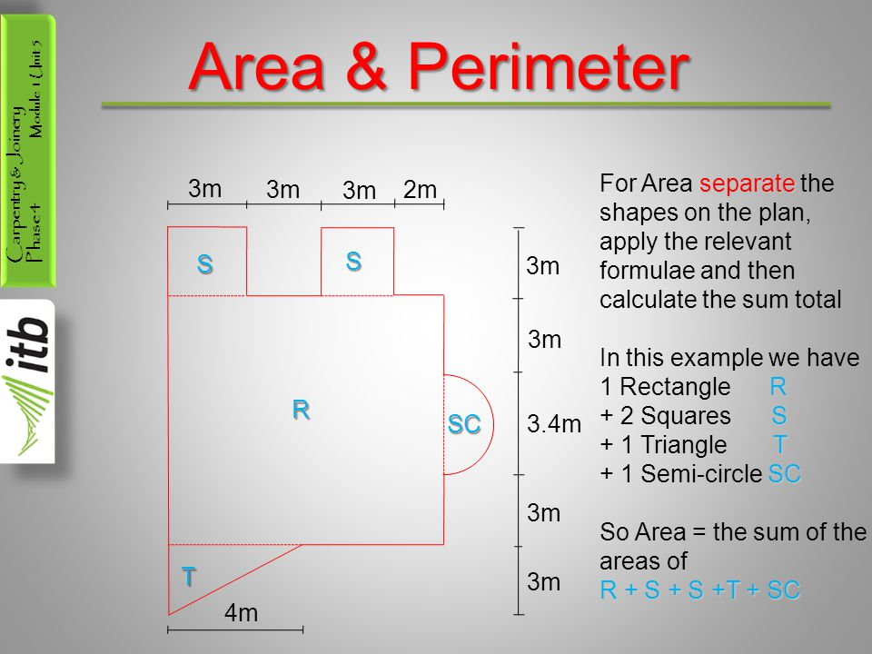 Carpentry & Joinery Phase 4 Module 1 Unit 5 Area & Perimeter 3m 2m 3m 3.4m 3m 4m S S R SC T separate For Area separate the shapes on the plan, apply the relevant formulae and then calculate the sum total R In this example we have 1 Rectangle R S + 2 Squares S T + 1 Triangle T SC + 1 Semi-circle SC So Area = the sum of the areas of R + S + S +T + SC