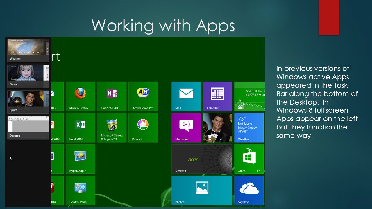 Working with Apps In previous versions of Windows active Apps appeared in the Task Bar along the bottom of the Desktop.