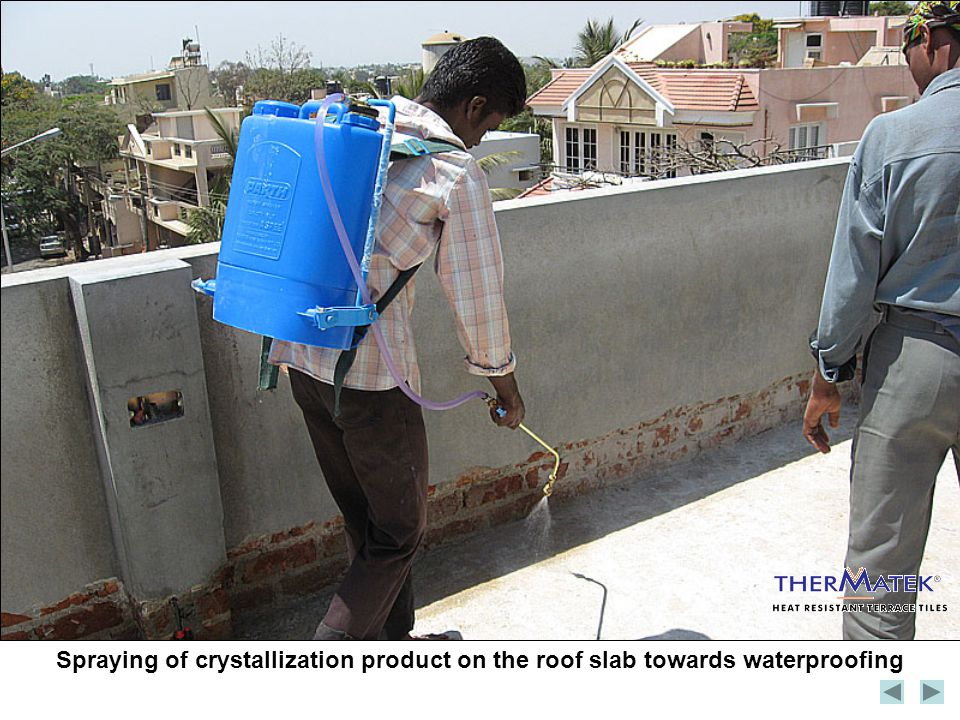 Spraying of crystallization product on the roof slab towards waterproofing