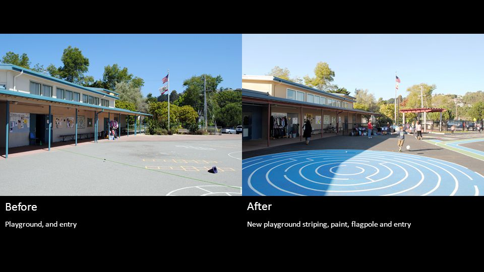 New playground striping, paint, flagpole and entry Before After Playground, and entry