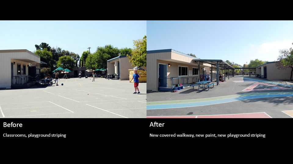 New covered walkway, new paint, new playground striping Before After Classrooms, playground striping
