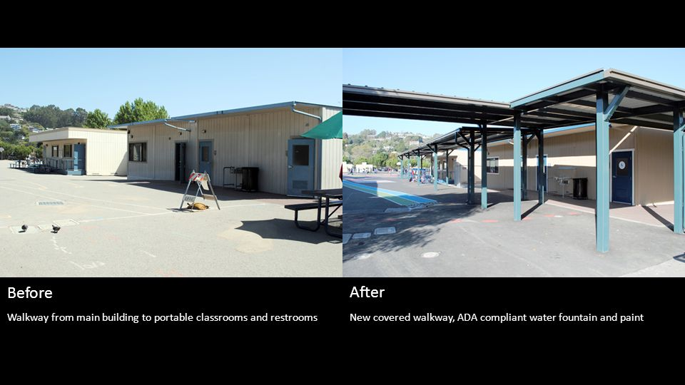 New covered walkway, ADA compliant water fountain and paint Before After Walkway from main building to portable classrooms and restrooms