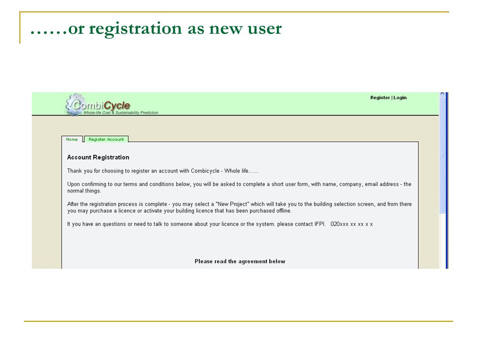 ……or registration as new user