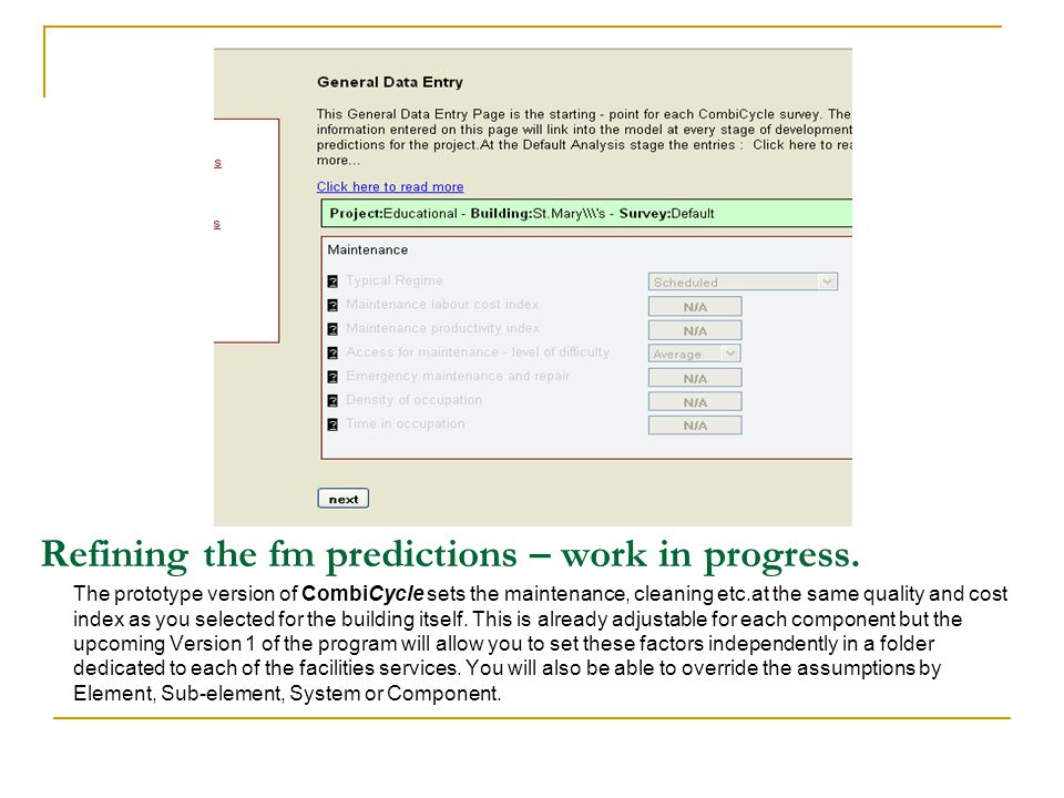 Refining the fm predictions – work in progress.