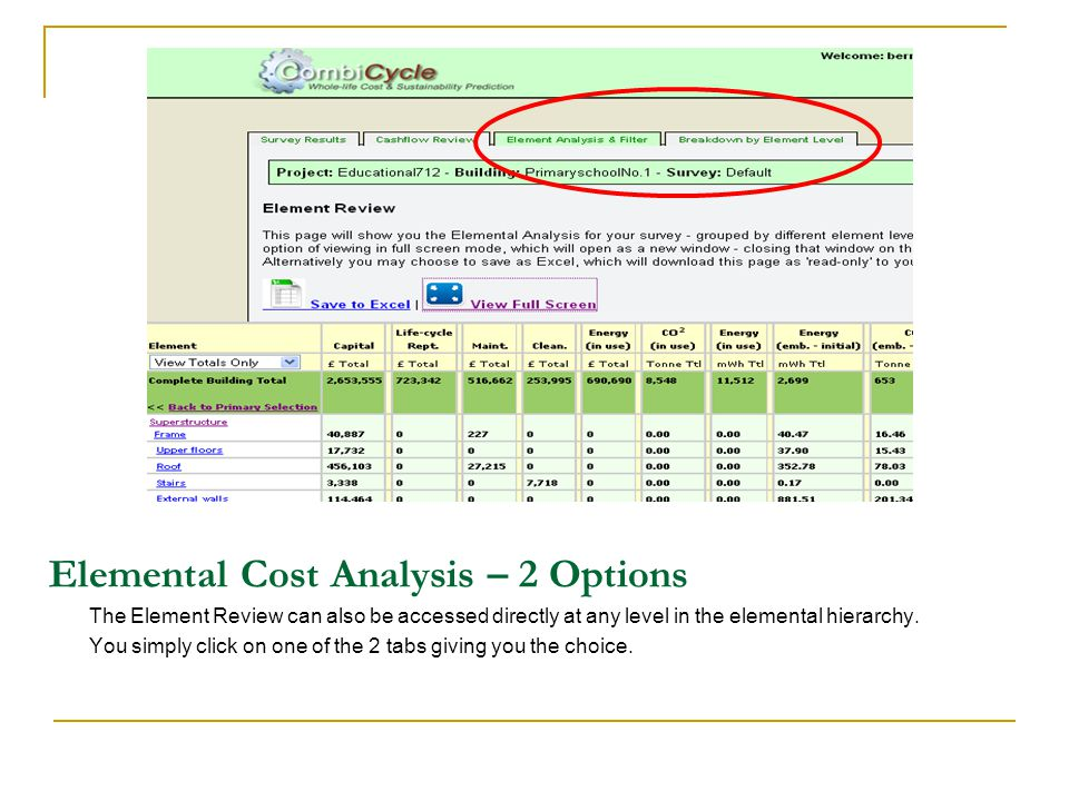 Elemental Cost Analysis – 2 Options The Element Review can also be accessed directly at any level in the elemental hierarchy.