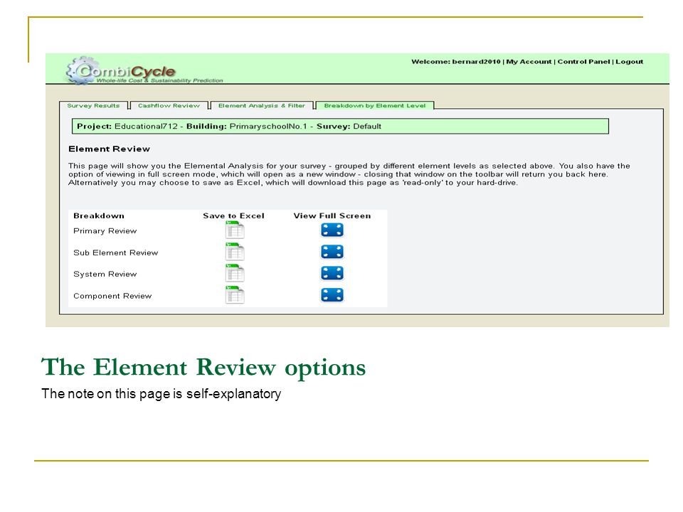 The Element Review options The note on this page is self-explanatory
