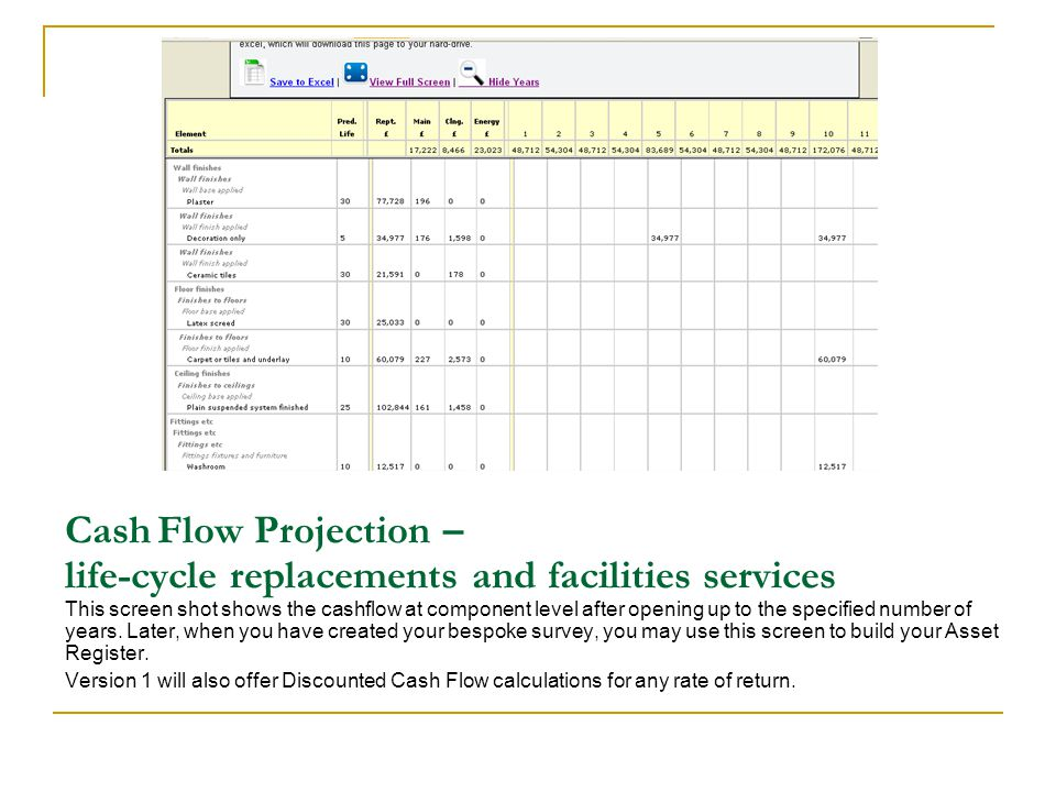 Cash Flow Projection – life-cycle replacements and facilities services This screen shot shows the cashflow at component level after opening up to the specified number of years.