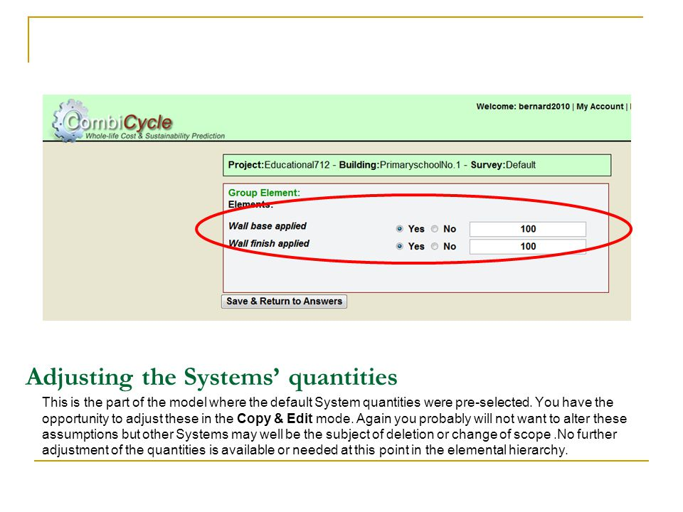 Adjusting the Systems quantities This is the part of the model where the default System quantities were pre-selected.