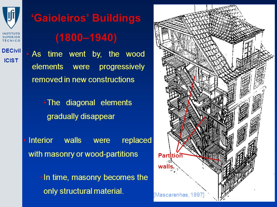 DECivil ICIST Gaioleiros Buildings (1800–1940) [Mascarenhas, 1997] As time went by, the wood elements were progressively removed in new constructions The diagonal elements gradually disappear Interior walls were replaced with masonry or wood-partitions In time, masonry becomes the only structural material.