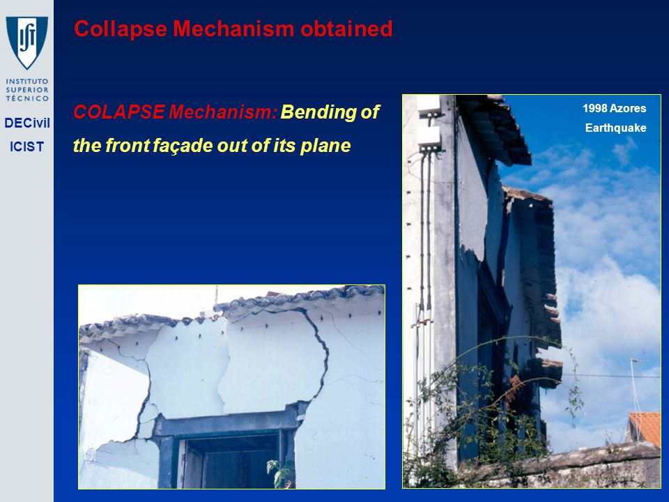 DECivil ICIST COLAPSE Mechanism: Bending of the front façade out of its plane 1998 Azores Earthquake Collapse Mechanism obtained