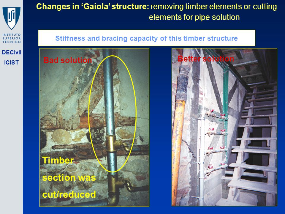 DECivil ICIST Changes in Gaiola structure: removing timber elements or cutting elements for pipe solution Timber section was cut/reduced Bad solution Better solution Stiffness and bracing capacity of this timber structure
