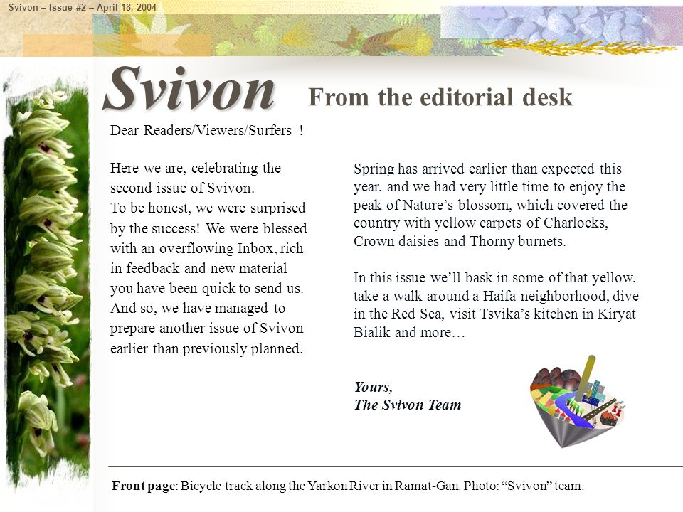 Here we are, celebrating the second issue of Svivon.