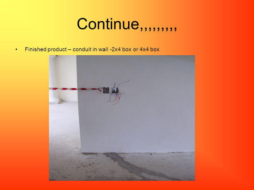 Continue,,,,,,,,, Finished product – conduit in wall -2x4 box or 4x4 box