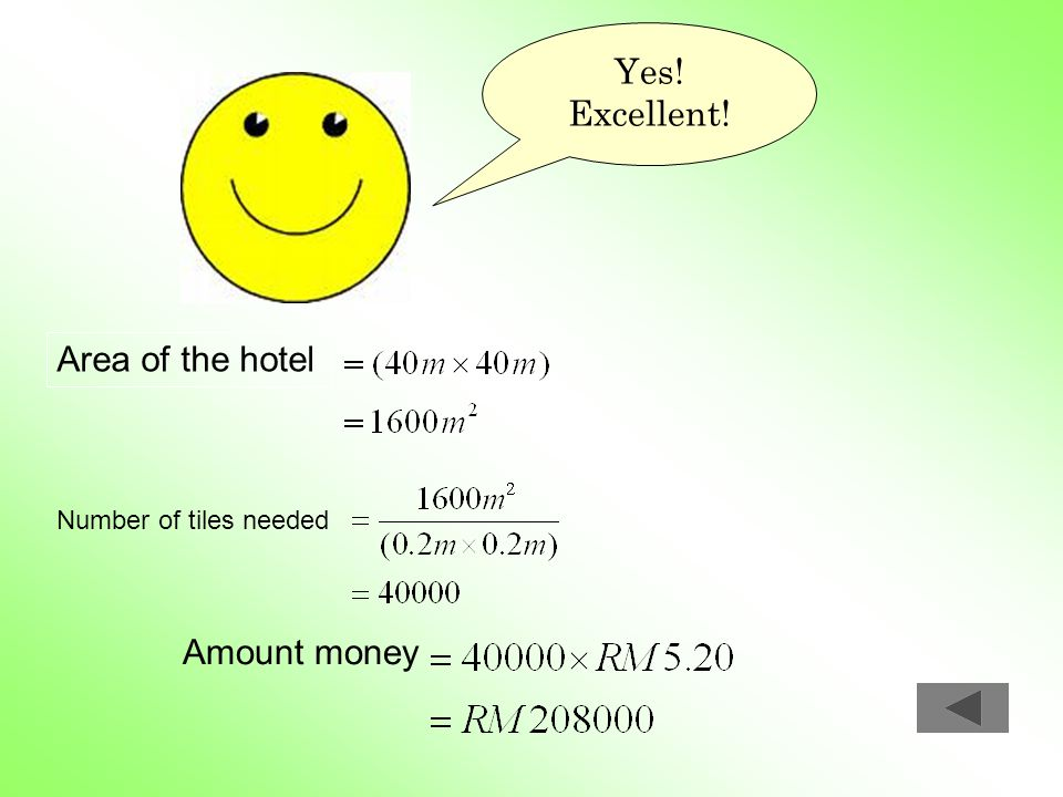 Yes! Excellent! Area of the hotel Amount money Number of tiles needed
